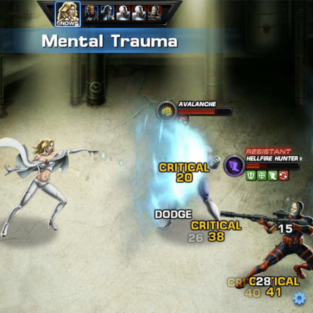 Marvel Avengers Alliance: Emma Frost attacks with Mental Trauma