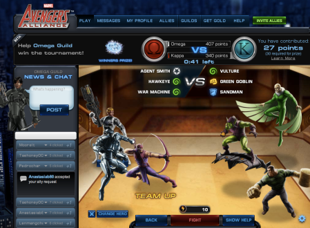 Playdom Website MAA Game Interface