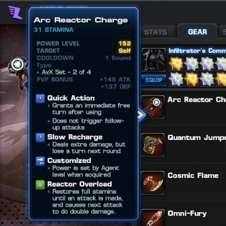 Marvel Avengers Alliance: Epic Boss Rewards: Stats: Arc Reactor Charge