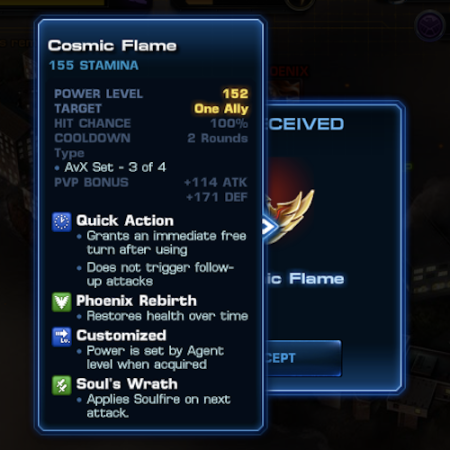 Marvel Avengers Alliance: Epic Boss Rewards: Stats: Cosmic Flame