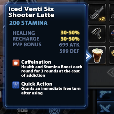 Marvel Avengers Alliance: Deploy Reward: Six Shooter Latte