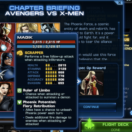 Marvel Avengers Alliance: Spec Ops 3 Reward: Magik