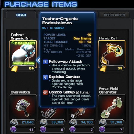 Marvel Avengers Alliance: Gold Gear: Techno Organic Endoskeleton