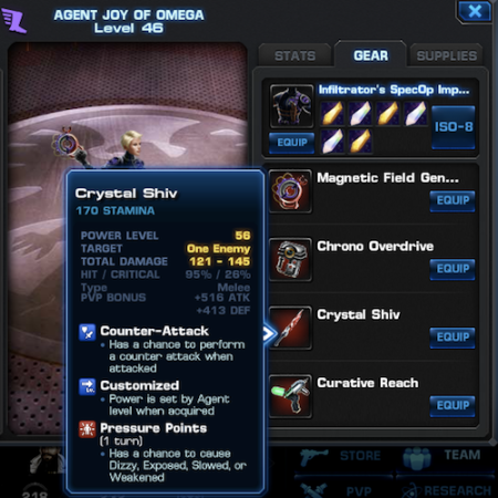 Marvel Avengers Alliance: Gold Gear: Crystal Shiv Stats