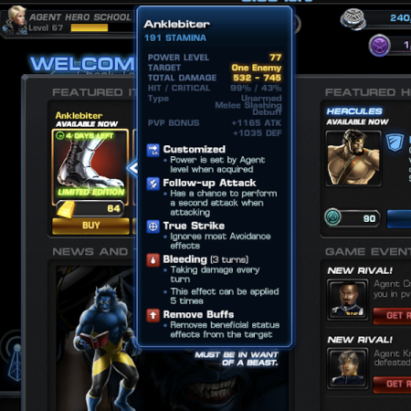 Marvel Avengers Alliance: Gear: AnkleBiter