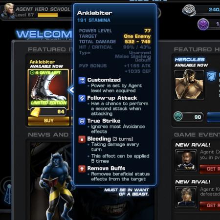 Marvel Avengers Alliance: Gear: AnkleBiter