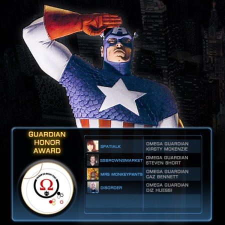 Captain America salutes the Guardians of Omega Guild