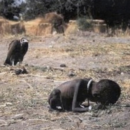 African Child stalked by a Vulture-Sudan